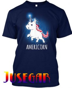American Unicorn USA Flag Red White Blue T Shirt