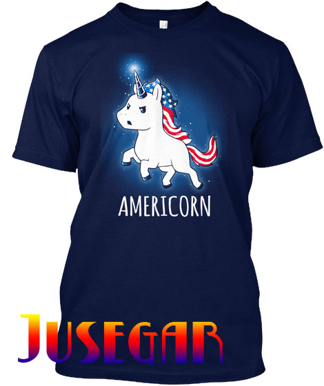 American Unicorn USA Flag Red White Blue
